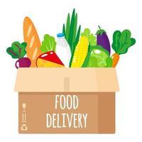 Ilustración de dibujos animados de vector de caja de cartón entregada con alimentos orgánicos saludables aislado sobre fondo blanco