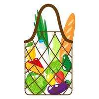 Vector cartoon illustration of brown grocery string or turtle mesh bag with organic food isolated on white background