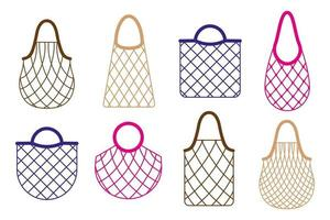 Vector cartoon set of empty grocery string bag or turtle mesh bag for healthy organic food isolated on white background