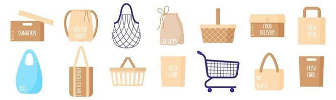 Conjunto de dibujos animados vectoriales de bolsas de papel vacías, cestas, cuerda y bolsa de tortuga para alimentos aislado sobre fondo blanco. vector