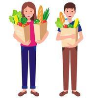 Ilustración de dibujos animados de vector con niño y niña sosteniendo bolsas de papel con alimentos saludables aislados sobre fondo blanco