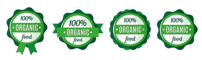 Vector set of round green organic and fresh food badges, tags or labels. Eco market tags design. Eco-food shopping.