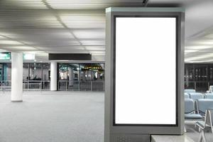 Blank billboard in the airport and background blur photo