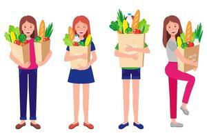 Conjunto de dibujos animados de vector de niñas felices sosteniendo bolsas de papel ecológico con alimentos orgánicos frescos y saludables aislados sobre fondo blanco
