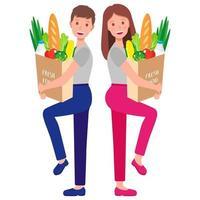Ilustración de dibujos animados de vector con pareja sosteniendo bolsas de papel ecológico con comida sana aislado sobre fondo blanco