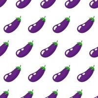 Vector seamless pattern with whole ripe purple eggplant isolated on white background
