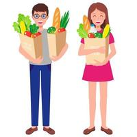 Ilustración de dibujos animados de vector con familia sosteniendo bolsas de papel con alimentos frescos y saludables aislados sobre fondo blanco