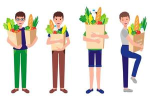Conjunto de dibujos animados de vector de niños felices sosteniendo bolsas de papel ecológico con alimentos orgánicos frescos y saludables aislados sobre fondo blanco