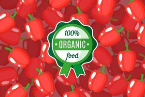 Vector poster or banner with illustration of red bell pepper background and round green organic food label