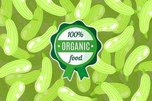 Vector poster or banner with illustration of green squash background and round green organic food label
