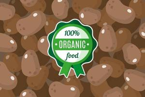 Vector poster or banner with illustration of brown potato background and round green organic food label