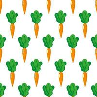 Vector seamless pattern with whole ripe carrots with tops isolated on white background