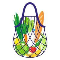 Ilustración de dibujos animados de vector de cadena de supermercado o bolsa de malla de tortuga con alimentos orgánicos saludables aislados sobre fondo blanco