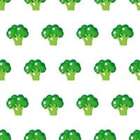 Vector seamless pattern with whole ripe green broccoli isolated on white background