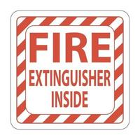 Fire Extinguisher Inside Label sign on white background vector