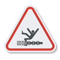 Warning Exposed Conveyor And Moving Parts Will Cause Service Injury Or Death Symbol Sign Isolate on White Background,Vector Illustration vector