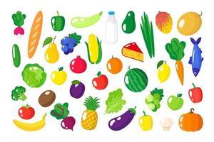 Conjunto de dibujos animados de vector de alimentos orgánicos saludables frescos, verduras y frutas aisladas sobre fondo blanco.