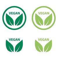 vegan icon bio ecology organic,logos label tag green leaf vector