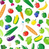 Vector cartoon seamless pattern with fresh healthy organic food, vegetables and fruits isolated on white background.