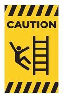 Precaución subir signo símbolo de peligro aislar sobre fondo blanco. vector