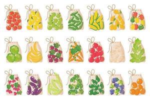 Vector conjunto de bolsas de supermercado ecológicas reutilizables de tela para pesar alimentos sin usar bolsas de plástico aisladas sobre fondo blanco