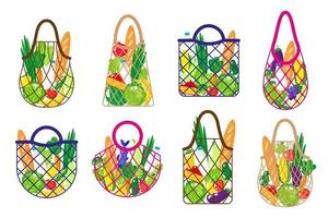 Conjunto de dibujos animados de vector de bolsa de cadena de supermercado o bolsa de malla de tortuga con alimentos orgánicos saludables aislado sobre fondo blanco