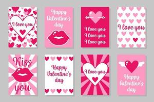 Set of pink, white and red colored cards for Valentine's Day or wedding. Vector flat design isolated on gray background