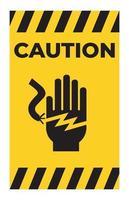 Signo de símbolo de electrocución de descarga eléctrica sobre fondo blanco. vector