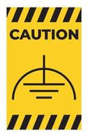 Caution Noiseless Earth Clean Ground Symbol Sign On White Background vector