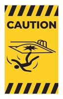 Caution Fall Hazard Symbol Sign Isolated on White Background vector