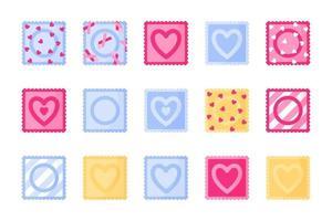 Conjunto de diferentes tipos y colores de envases de condones. vector
