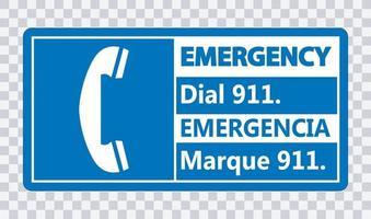 señal de llamada de emergencia bilingüe 911 vector