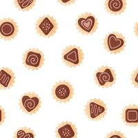 Seamless pattern of chocolates of various shapes with icing for Valentine's Day. vector