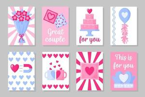 Set of pink, white and blue colored cards for Valentine's Day or wedding. Vector flat design isolated on gray background