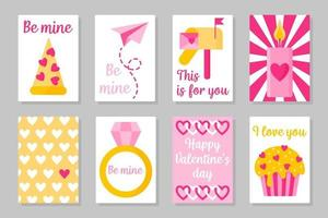 Set of pink, white and yellow colored cards for Valentine's Day or wedding. Vector flat isolated design