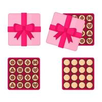 Square pink box of chocolates for Valentine's Day. vector