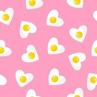 Seamless pattern with heart-shaped omelette, breakfast for Valentine's Day. vector
