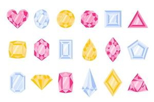 Set of different type and color of precious stones or gems. vector