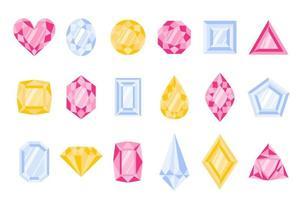conjunto de diferentes tipos y colores de piedras preciosas o gemas. vector