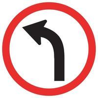 Curve Left Traffic Road Sign vector