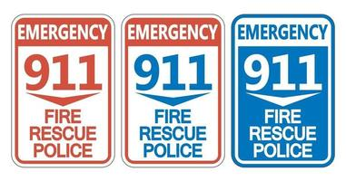 911 Fire Rescue Police Sign Set vector