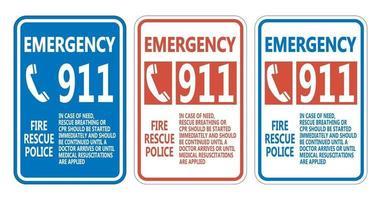 911 Fire Rescue Police Symbol Sign Set vector