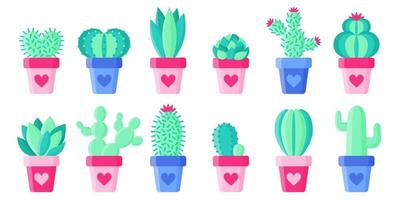 Set flower pots with cacti and succulents for the wedding or Valentine's Day. vector
