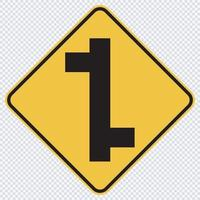 Staggered Junction Traffic Road Sign vector