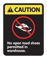 Caution No Open Toed Shoes Sign on white background vector