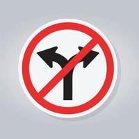 Prohibit Fork Road Not Turn Right Or Turn Left Traffic Sign vector
