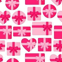 Seamless pattern with pink gift boxes of different shapes for Valentine's Day or other holiday. vector