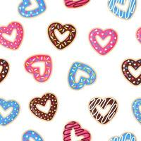 Seamless pattern with heart shaped donuts with pink, blue and chocolate icing. vector