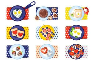 Valentine's Day breakfast set toast, scrambled eggs, omelet, gingerbread, sweets, coffee, donuts, strawberries. vector
