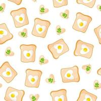 Seamless pattern with toasts and fried eggs in the shape of a heart, breakfast for Valentine's Day. vector